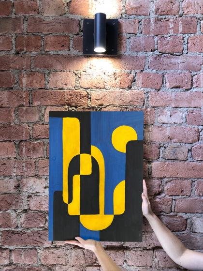 """Картина абстрактная """"Ночь в городе"""" 40х50 см"""