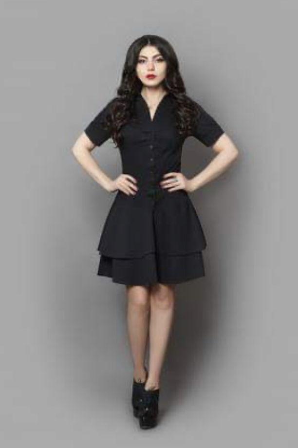 Платье с поясом, на пуговицах