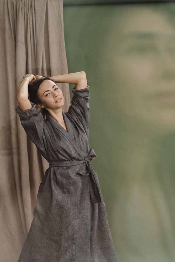 льняное кимоно с накладными карманами