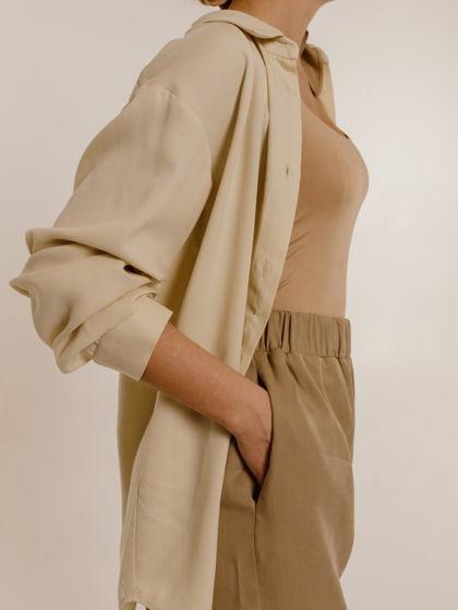 Элегантная рубашка классического кроя из 100% тенселя