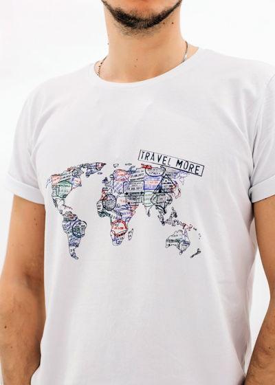 """Футболка с принтом """"Карта мира"""" белый"""