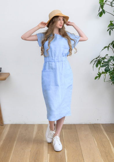 Летнее платье небесно-голубое