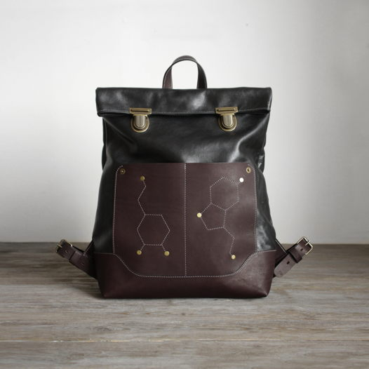 Кожаный рюкзак КУМБЭК Черно/коричневый