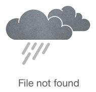 Мохеровая синяя двухслойная шапка с подворотом, связанная вручную
