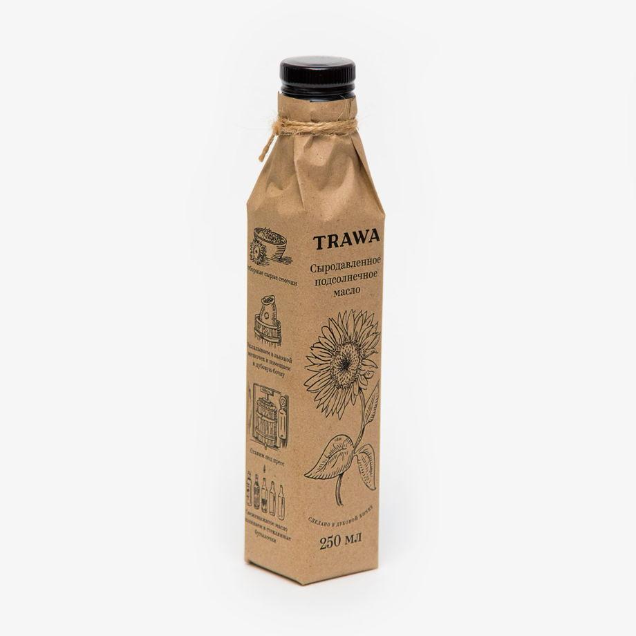 Сыродавленное подсолнечное масло TRAWA, 250 мл