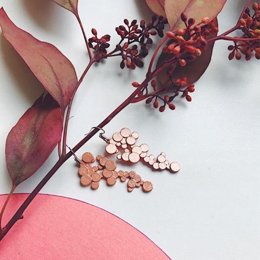 """Серьги """"Sea flower"""" цвет розовое золото"""