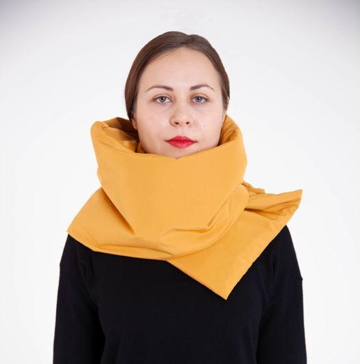 Зимний шарф - палантин горчица