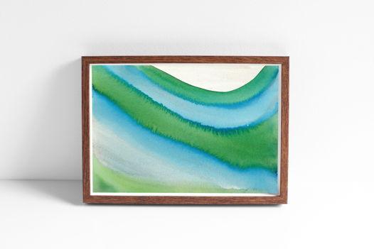 """Акварельный рисунок """"Море зелено-голубое"""""""