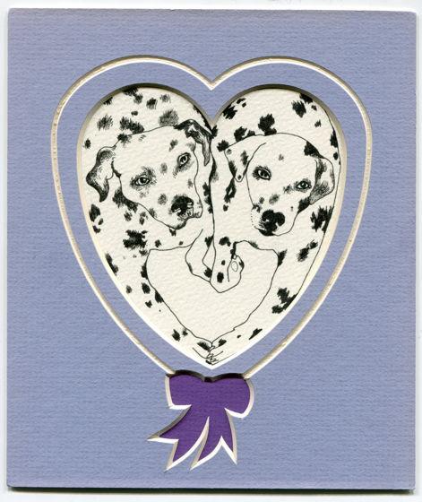 Влюбленные далматинцы, открытка ручной работы