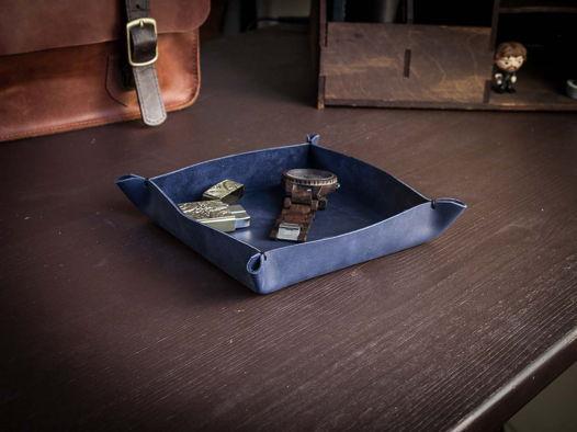 Настольный кожаный лоток органайзер -BASTION- цвет Синий океан