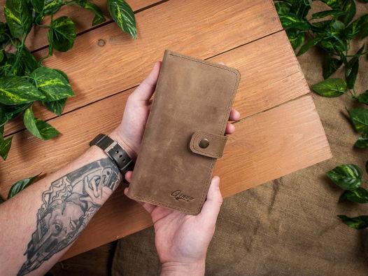 Кожаный кошелек -ESQUIRE- с отделение на молнии цвет Оливковый