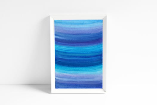 """Акварельный рисунок """"Глубоко-синее, жемчужное №1"""""""