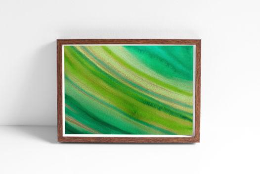 """Акварельный рисунок """"Море зелено-золотое"""""""