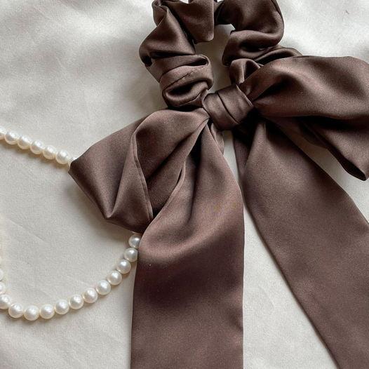 Лента для волос из 100 процентного шёлка, тёмный шоколад