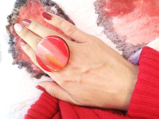 Кольцо Красное Круглое