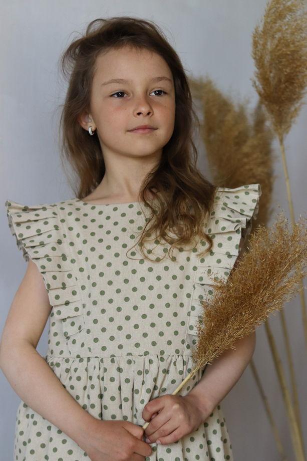 Льняное детское платье с воланами