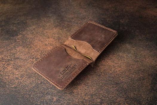 Компактный зажим для денег из кожи -JAWS- цвет Шоколад
