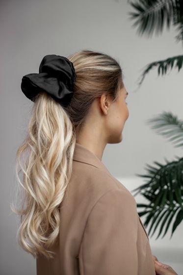 Резинка для волос GIANT из натурального шелка черная