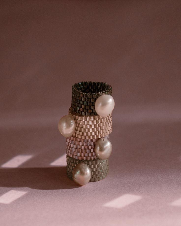 "Кольцо из бисера с жемчугом ""Prism"""