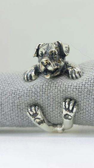 Кольцо собачка-обнимашка, серебро 925