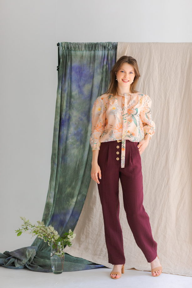 Блуза из хлопкового батиста с цветочным принтом