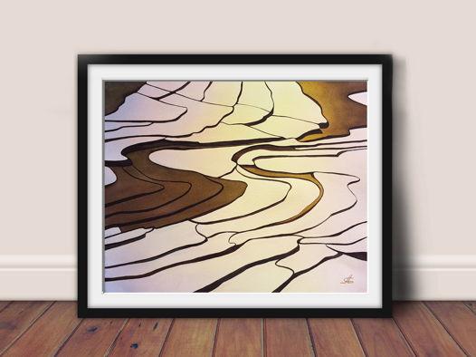 """Акварельная картина """"Рассвет на рисовых террасах"""" (38,5 х 31 см)"""