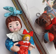 "Ватная игрушка ""Наташа и её кукла Катя"""