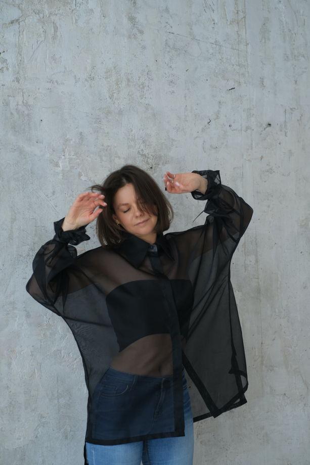 Рубашка из черной итальянской органзы