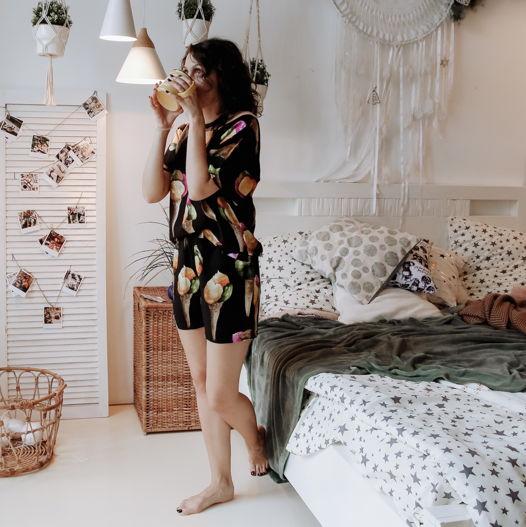 Домашний костюм / пижама из штапеля с шортами