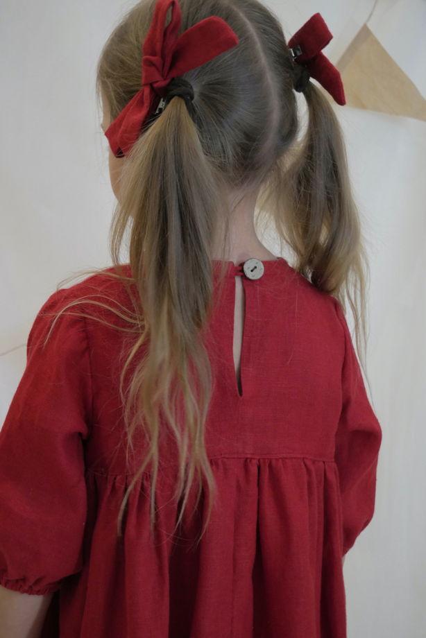 Льняное красное платье