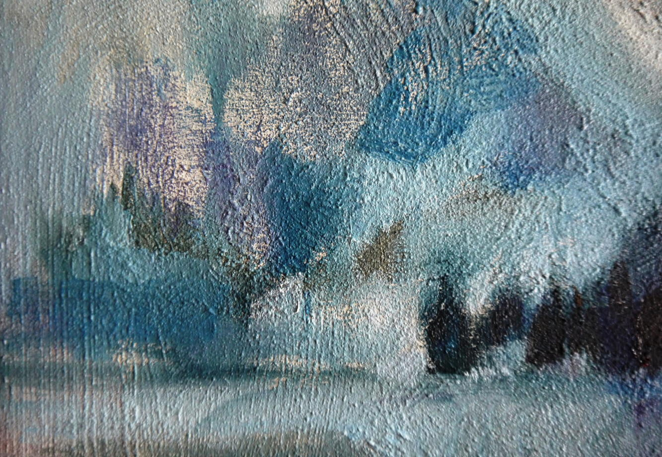 Горы в синих тонах абстрактный пейзаж
