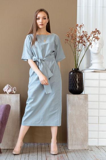 Платье прямое длины миди  Амалия, цвет голубой