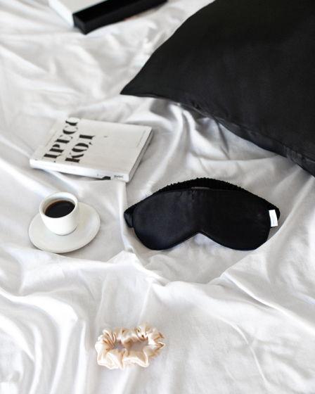 Маска для сна натуральный 100% шелк (черная)