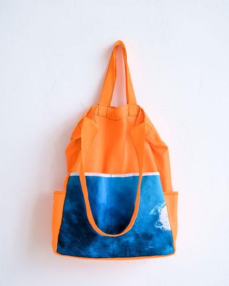 Сумка оранжевая из плотного хлопка с авторским принтом «Цвет прибоя»