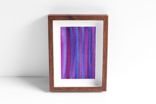"""Акварельный рисунок """"Фиолетово-малиновые полоски"""""""