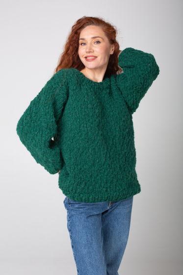 Зелёный женский свитер ручной вязки из шерсти альпака и мериноса