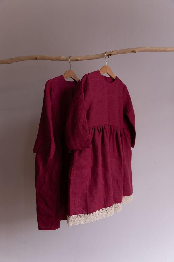 Платье с завышенной талией и длинным рукавом из 100% льна