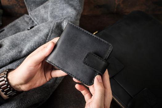 Кожаное портмоне с отделением для мелочи -PRIDE- цвет Черный Уголь