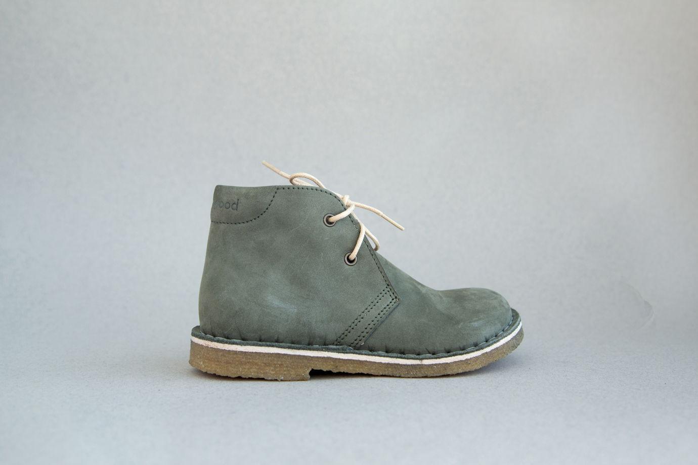 Детские ботинки на шнурках из натуральной кожи: Дезерты Нубук Олива