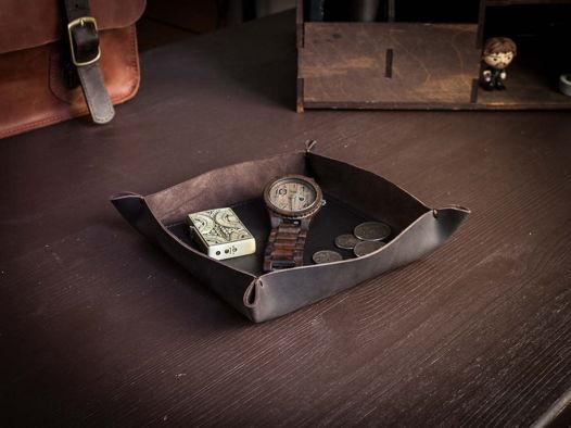 Настольный кожаный лоток органайзер -BASTION- цвет Шоколад