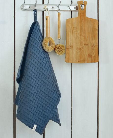 Полотенце для кухни из хлопка серо-синего цвета