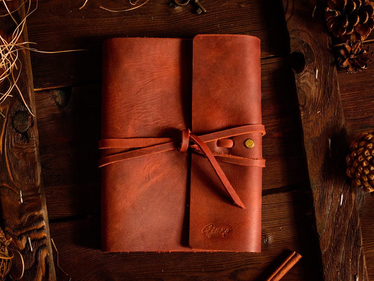 Блокнот из кожи на кольцах А5 со сменными блоками -MYSTERY- цвет Коньяк