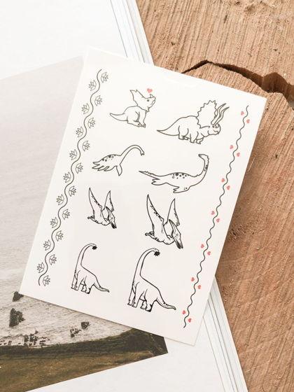 """Временные переводные татуировки MimiToo """"Динозавры контур"""" для детей и взрослых"""