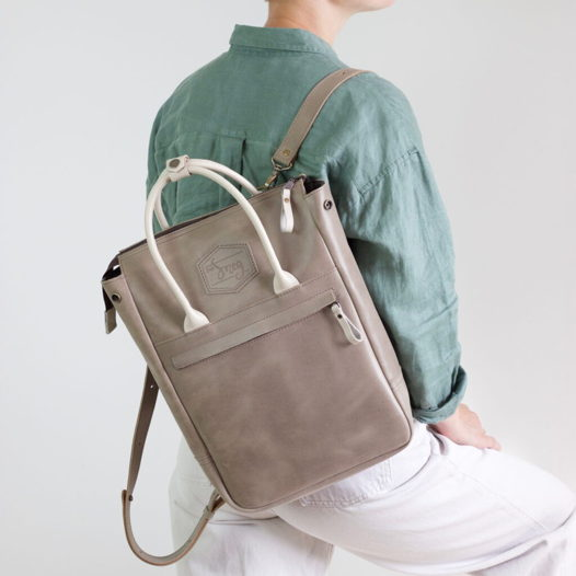 Кожаный рюкзак-сумка Urban Pack Cacao-Cream