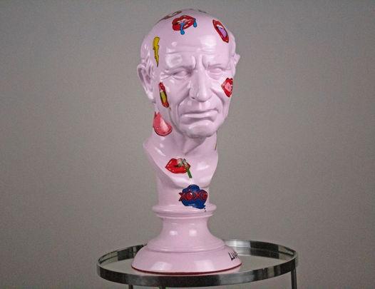 Гипсовая скульптура Римлянина со стикерами 25х25х60 см