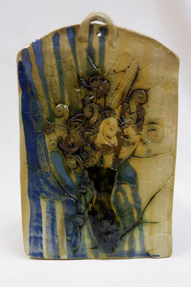 """Керамический пласт-панно.""""Букет в синей вазе""""."""