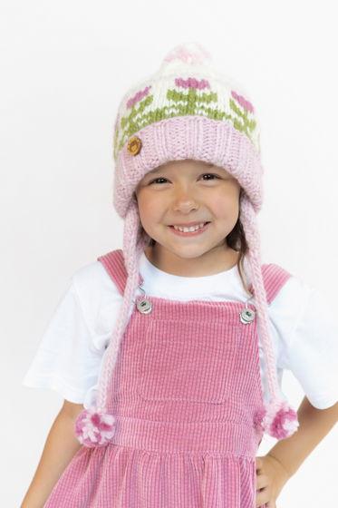 """Розовая детская зимняя шапка """"Тюльпаны"""" из 100%ной мягкой шерсти"""