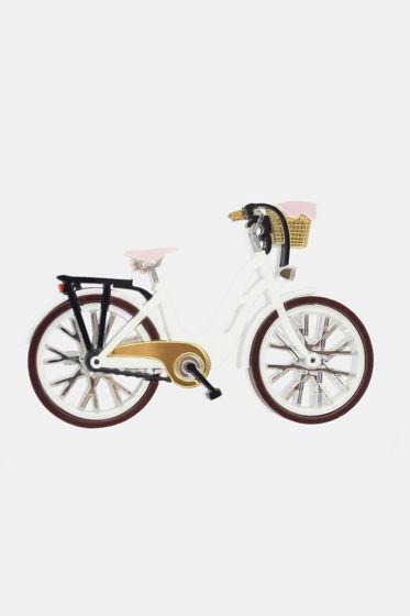 Брошь Белый Велосипед / органическое стекло