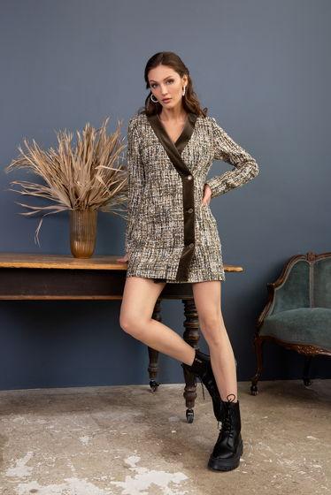 Двубортное платье из буклированного твида