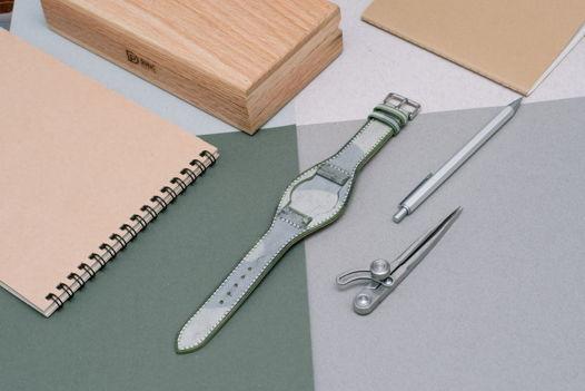 Ремень для часов в стиле милитари из зеленой кожи Camo Wax